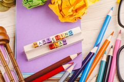 Colorful cube with word MARKETING PLAN on wooden desk. Business Campaign Concept background, colorful cube with word MARKETING PLAN on wooden desk royalty free stock photos