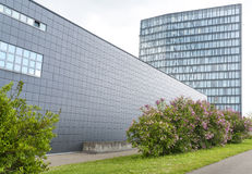 Business campus with high rated modern office buil. Office campus with high rated modern office buildings (Panorama parallax corrected, real view royalty free stock photography