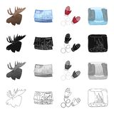 Business, Canada, mittens, and other web icon in cartoon style.Animal, elk, horns, head, icons in set collection. Royalty Free Illustration
