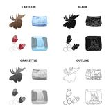 Business, Canada, mittens, and other web icon in cartoon style.Animal, elk, horns, head, icons in set collection. Vector Illustration