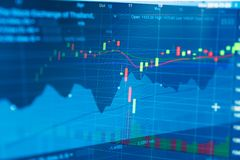 Business candle stick graph chart of stock market investment trading. Financial chart with up trend line graph, Trend of graph.Stock markets financial or stock photo
