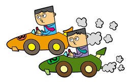 Business car race. Illustration of two business men in a race car and having a racing competition Stock Images