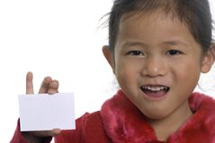 Business Card 1. A young girl shows off a blank business card Stock Photos