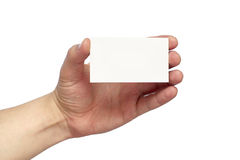 Business card. Empty business card in the hand isolated over white background Stock Image