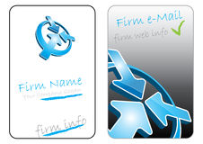 Business card. 3-dimensional blue arrows and business card Royalty Free Stock Image