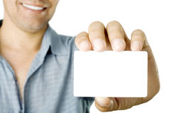Business card. Blank business card in a hand Stock Images