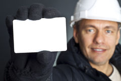 Business card. Blank business card in a hand Royalty Free Stock Images