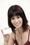 Pretty Woman Holding Blank Business Card stock photo