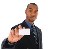 Business Card. Business man giving a blank card on white Stock Photography