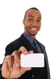 Business Card. Business man giving a blank card on white Stock Images
