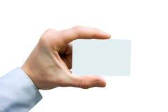 Business card. Man hand holding a blank business card Stock Photos