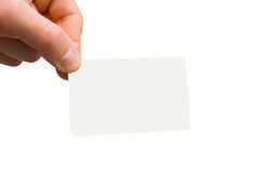Business card. Man hand holding a blank business card Stock Images