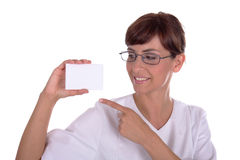 Business card. Woman nurse business card with copyspace stock photos