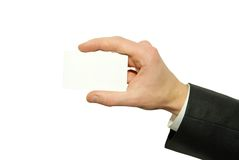 Business card. Man hand holding a blank business card Royalty Free Stock Photography