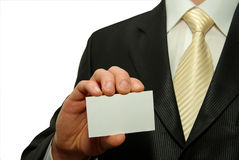 Business card. Man hand holding a blank business card Stock Photography