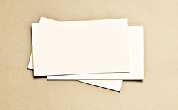 Business card. Several blank business cards on a neutral background Stock Photography