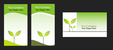 Business card. Three ecology  business cards on black Stock Photography