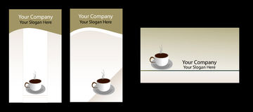 Business card. Three  coffee  business cards on black, easily use to coffee shop Stock Photos