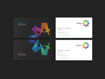 Business card with abstract colorful element. Vector art Stock Image