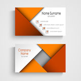 Business card with abstract orange triangles template Stock Photography