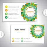 Business card - Abstract woods and gardens - green and orange ve Stock Photos