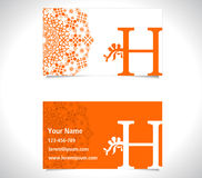 Business card with alphabet letter H, creative H letter logo concept Royalty Free Stock Images