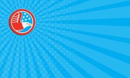 Business card American Bald Eagle Stars Circle Retro Stock Image