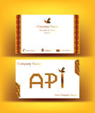 Business card with API letters as abstract honeycombs. Business card with API letters design, referring to the word apiculture, with abstract decor resembling Stock Photography