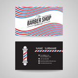 Business card - barber shop and barber pole vector design Royalty Free Stock Images