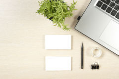 Free Business Card Blank, Laptop, Flower And Pencil At Office Desk Table Top View. Corporate Stationery Branding Mock-up Stock Photography - 75565792