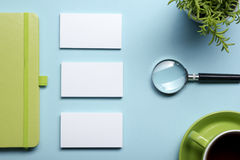 Free Business Card Blank, Notepad, Flower, Coffee Cup And Pen At Office Desk Table Top View. Corporate Stationery Branding Royalty Free Stock Photo - 69085885