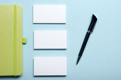 Free Business Card Blank, Notepad, Flower, Coffee Cup And Pen At Office Desk Table Top View. Corporate Stationery Branding Royalty Free Stock Images - 74962689
