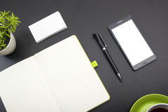 Free Business Card Blank, Smartphone Or Tablet Pc, Flower And Pen At Office Desk Table Top View. Corporate Stationery Royalty Free Stock Image - 75128006