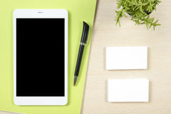 Free Business Card Blank, Smartphone Or Tablet Pc, Flower And Pen At Office Desk Table Top View. Corporate Stationery Royalty Free Stock Images - 75793959