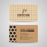 Business card brown bamboo weave sheets texture background Stock Photography