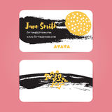 Business card with brush ink strokes. Abstract Royalty Free Stock Images