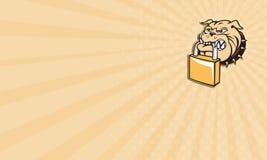 Business card Bulldog Dog Mongrel Head Padlock Retro Stock Image
