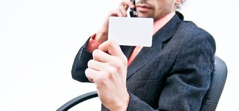 Business card with business man Stock Photo