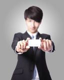 Business card in business man hand Stock Photography