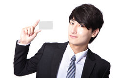 Business card in business man hand Royalty Free Stock Photography