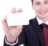 Business card in business man's hand Stock Image