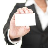 Business card - businesswoman holding blank sign Stock Images