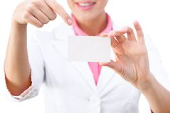 Business card - businesswoman holding blank sign Stock Image