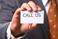 Business card with CALL US Stock Images