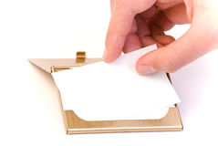 Business card and card holder Stock Photo