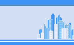 Business card with city landscape. Blue business card with city landscape and skyscraper image Royalty Free Stock Images