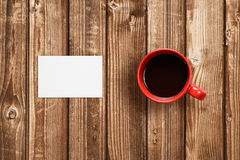 Business card and coffee cup stock image