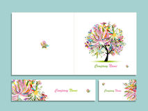 Business card collection, abstract floral tree design Royalty Free Stock Photos