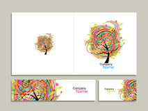 Business card collection, abstract floral tree design Royalty Free Stock Photography