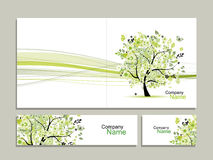 Business card collection, abstract floral tree design Stock Photos